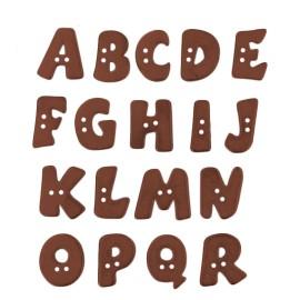 Bouton Polyester Alphabet Aspect Métal 18 mm - Cuivre