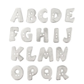 18 mm Metal Aspect Polyester Button - Silver Alphabet