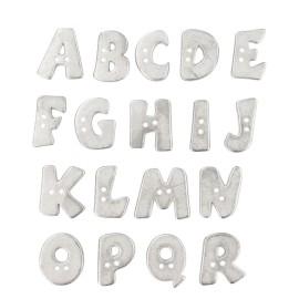 Bouton Polyester Alphabet Aspect Métal 18 mm - Argent