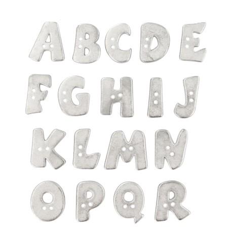 18 mm Metal Aspect Polyester Button - Silver Alphabet