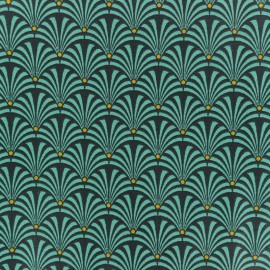 Cretonne cotton fabric - Turquoise blue Gustave x 10cm