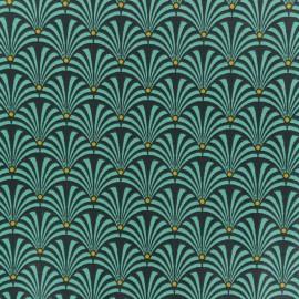 Tissu coton crétonne Gustave - Turquoise x 10cm