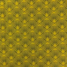 Tissu coton crétonne Célestin - moutarde x 10cm