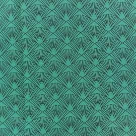 Cretonne cotton fabric - Turquoise blue Célestin x 10cm