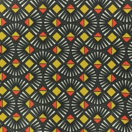 Cretonne cotton fabric - yellow mustard Célestin x 10cm