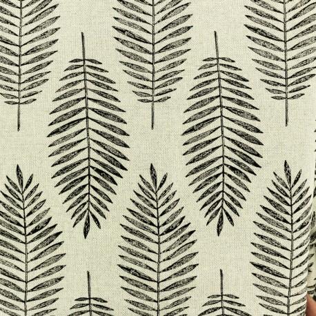 Lurex Polycotton fabric- natural/silver Palm x 10cm