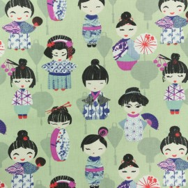 Tissu coton crétonne Geisha - vert x 10cm