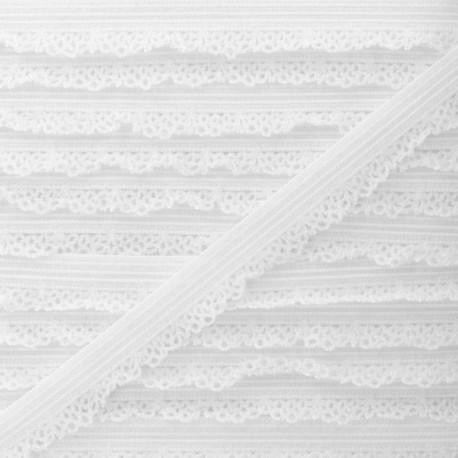 12 mm Lingerie Crocheted Elastic Ribbon - White x 1m
