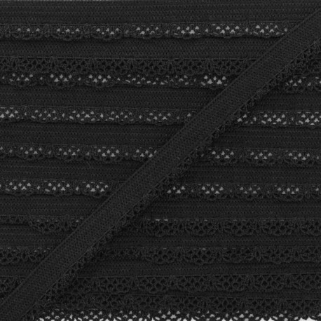 12 mm Lingerie Crocheted Elastic Ribbon - Black x 1m