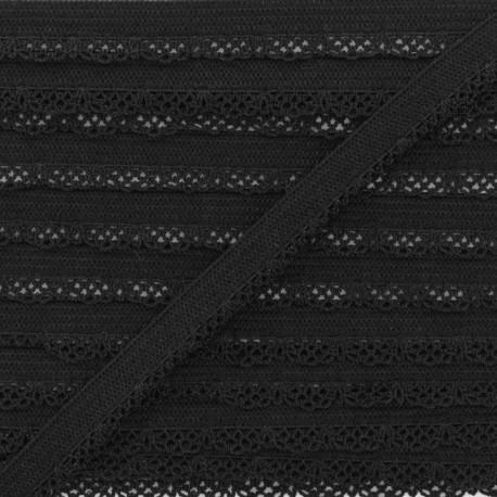 Elastique Lingerie Crochet 12 mm - Noir x 1m