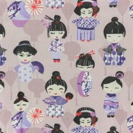 Tissu coton crétonne Geisha - rose x 10cm