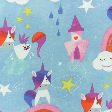 Cretonne cotton fabric - Blue Unicorn Tales x 10cm