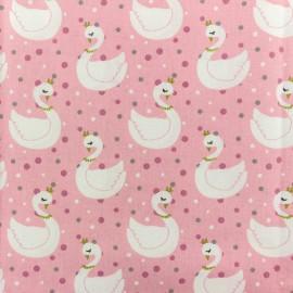 Tissu coton crétonne Cygne - rose x 10cm