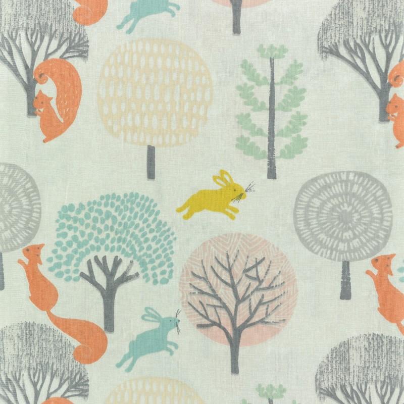 ca9acf25ec181 Tissu coton crétonne à motif licorne Timéo l écureuil - orange