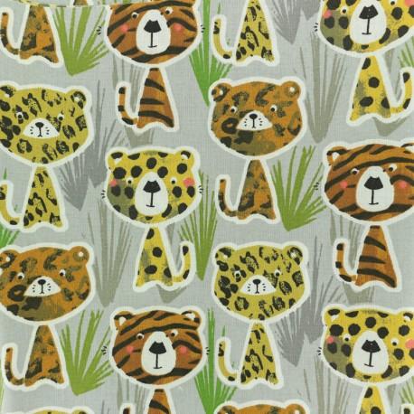 Cretonne cotton fabric - beige Timéo l'écureuil x 10cm
