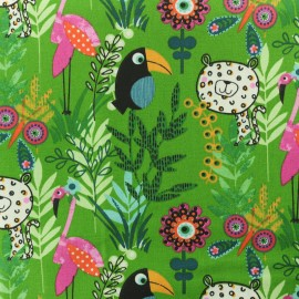 Cretonne cotton fabric - Green Paco jungle  x 10cm