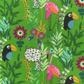 Jersey cotton fabric - Green Paco Jungle x 10cm