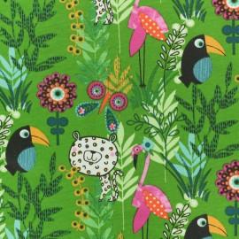 Tissu coton jersey Paco Jungle - vert x 10cm