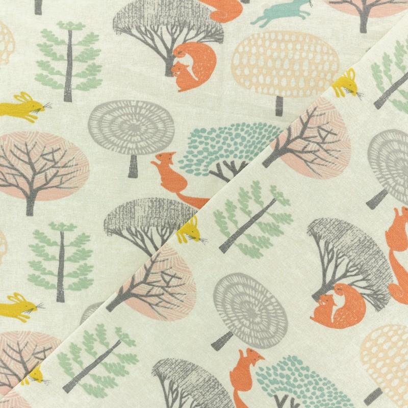 9b5f108fcafa3 Tissu coton jersey motif animaux Timéo l écureuil orange
