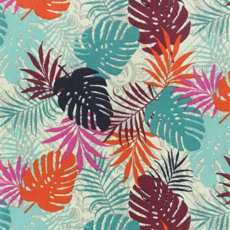 Tissu coton crétonne Jungle Horizon - bleu x 10cm