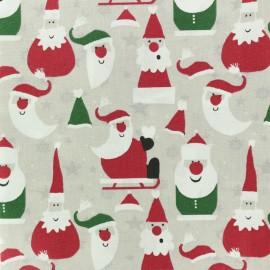 Tissu coton crétonne Santa Claus - beige x 10cm