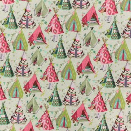 Poplin Cotton fabric - pink Teepee x 10cm