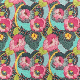 Cotton fabric - Turquoise Hawai Garden x 10cm