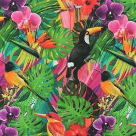 Tissu coton Oiseau de Paradis - vert x 10cm