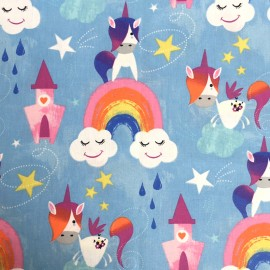 Cretonne cotton fabric - Blue Unicorn Tales x 10cm