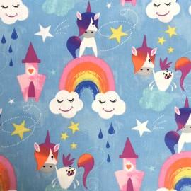 Tissu coton crétonne Unicorn tales - bleu x 10cm