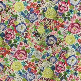 Cotton fabric - Green Tapis fleuri x 10cm