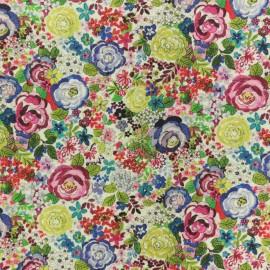 Tissu coton Tapis fleuri - vert x 10cm