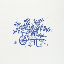 Hand Printed Cotton Panel - Blue Wheelbarrow