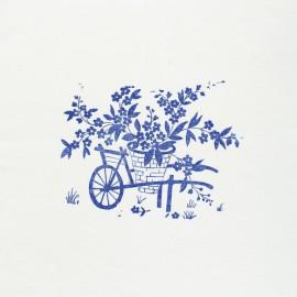 Panneau Coton Imprimé Artisanal - Brouette Fleurie