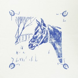 Hand Printed Cotton Panel - Horse