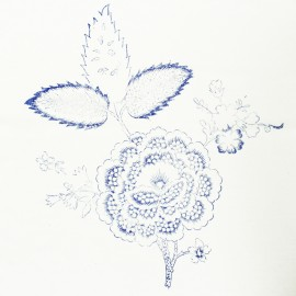 Hand Printed Cotton Panel - Blue Flower