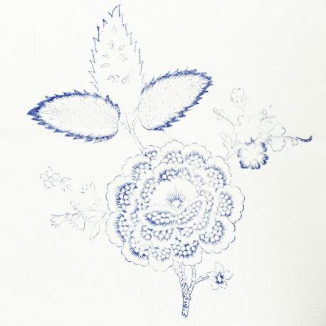 Hand Printed Cotton Panel - Flower