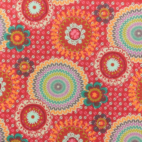 Cotton fabric - Red Mexicali x 10cm
