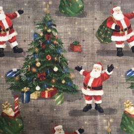 Tissu toile de coton Joyeux Noël - Taupe x 10cm