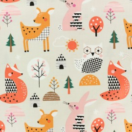 Cotton Dashwood fabric Geo Forest - Multi Animals x 10cm