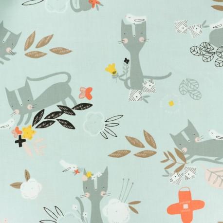 Tissu coton Dashwood Emi & the bird - gris clair x 10cm