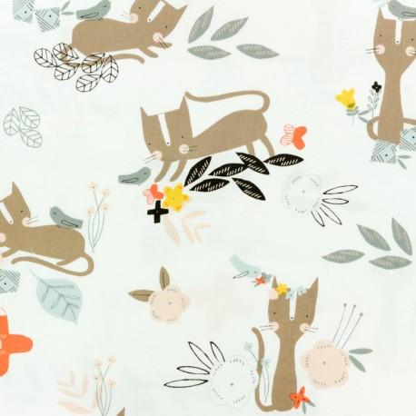 Cotton Dashwood fabric Emi & the bird - light grey x 10cm