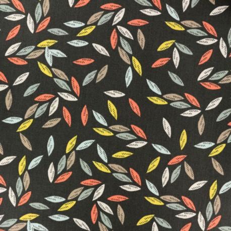 Tissu coton Dashwood Emi & the bird Feuille - Gris foncé x 10cm