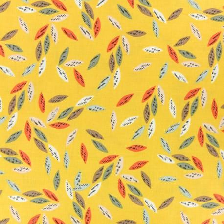 Cotton Dashwood fabric Emi & the bird - dark grey leaf x 10cm