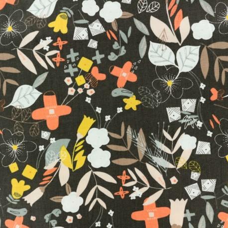 Cotton Dashwood fabric Emi & the bird - dark grey Garden x 10cm