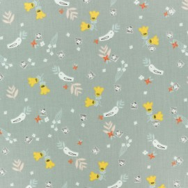 Cotton Dashwood fabric Emi & the bird - light grey Bird x 10cm