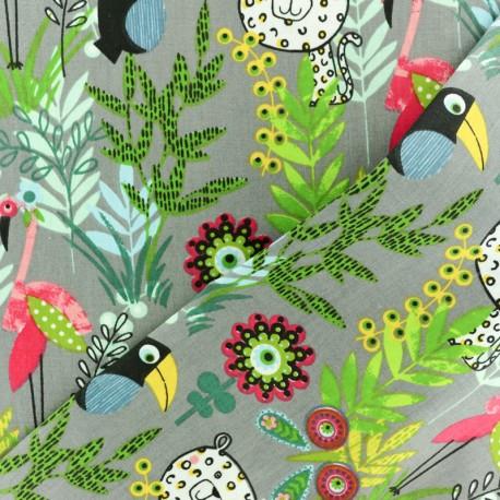 Tissu coton crétonne Paco jungle - gris x 10cm