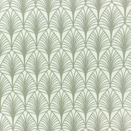 Coated cretonne cotton fabric - sea Green Leaf x 10cm
