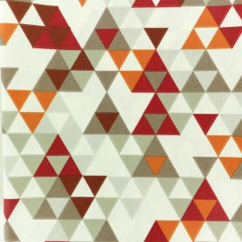 Coated cretonne cotton fabric - Red Triangolo x 10cm