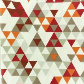 Tissu coton crétonne enduit Triangolo - rouge x 10cm